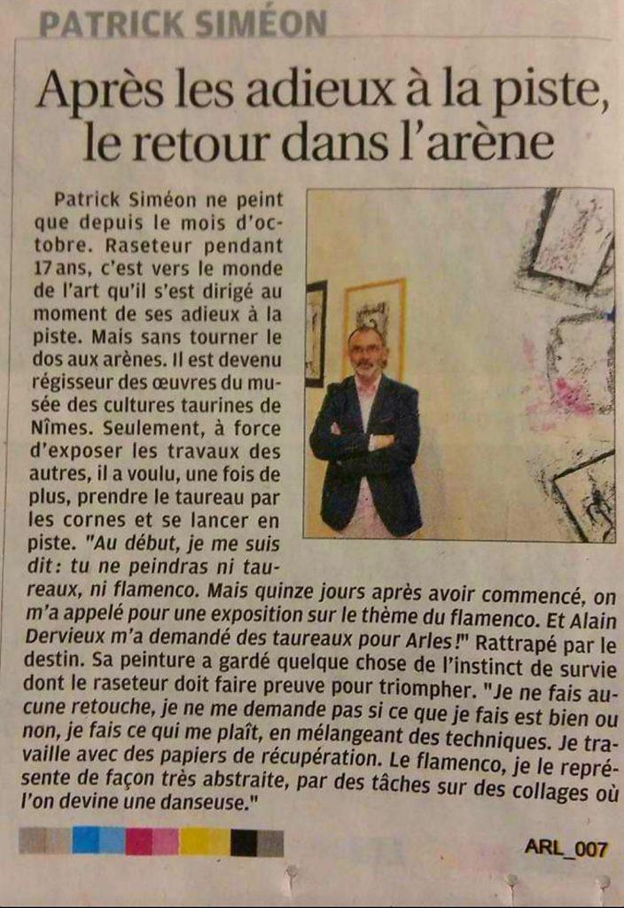 Arles - Espace Van Gogh - 13 au 17 avril 2017 - Patrick Simeon s'Expose - La Provence
