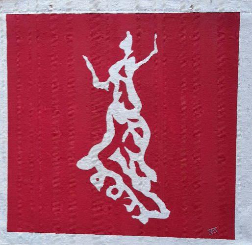 1 - Flamenquita - Acrylique sur coupon de tissus d'ameublement - Fotmat 40 X 40 - 40 €
