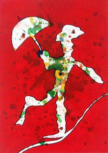 101 - Acrylique sur papier de macule d'impression - Format 70 X 50 cm - Collection privée