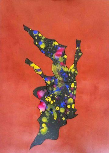 102 - Acrylique sur papier de macule d'impression - Format 70 X 50 cm - 250 €