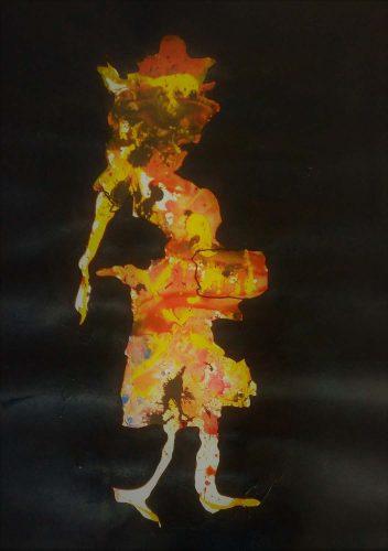 105 - Acrylique sur papier de macule d'impression - Format 70 X 50 cm - 250 €