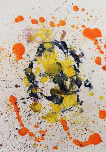 Acrylique sur papier de macule d'impression - Format 70 X 50 cm - 250 €