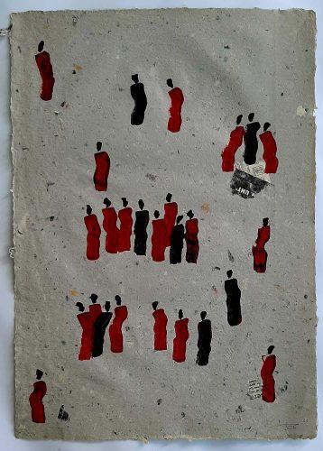 11 - Kekere Ohun Kiko - Acrylique sur papier recyclé artisanal - Dim. 45 X 32 cm. - 30 €