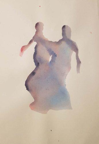 11 - Pas de deux - Acrylique sur papier dessin - 21 X 30 cm. - 20 €