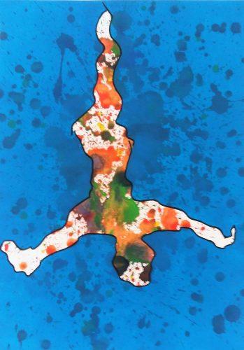 111 - Acrylique sur papier de macule d'impression - Format 70 X 50 cm - 250 €