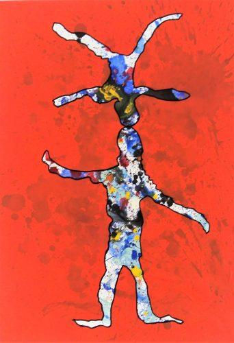 112 - Acrylique sur papier de macule d'impression - Format 70 X 50 cm - 250 €