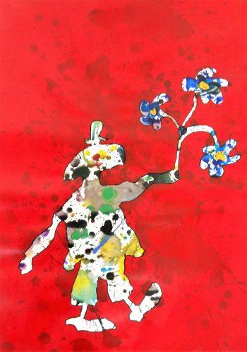 115 - Acrylique sur papier de macule d'impression - Format 70 X 50 cm - Collection privée