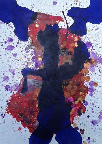 117 - Acrylique sur papier de macule d'impression - Format 70 X 50 cm. - 250 €