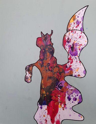 119 - Acrylique sur papier de macule d'impression - Format 65 X 50 cm. - 250 €