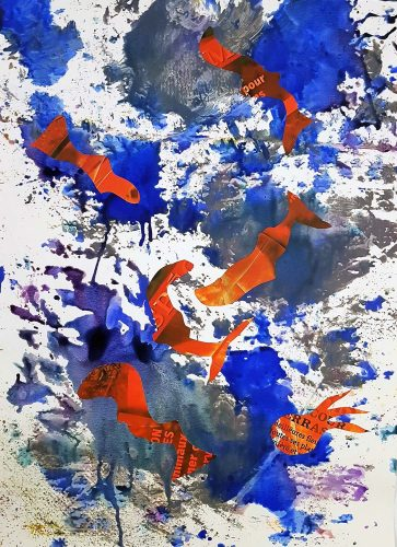 121 - Découpage et collage d'affiche sur acrylique sur papier de macule d'impression - Format 70 X 50 cm - 250 €