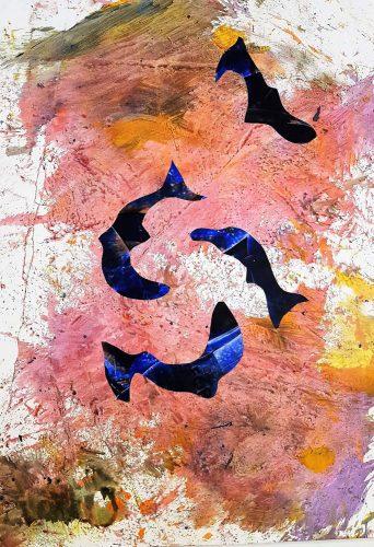 122 - Découpage et collage d'affiche sur acrylique sur papier de macule d'impression - Format 70 X 50 cm - 250 €