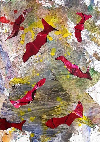 124 - Découpage et collage d'affiche sur acrylique sur papier de macule d'impression - Format 70 X 50 cm - 250 €