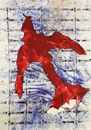 125 - Découpage et collage d'affiche sur acrylique sur papier de macule d'impression - Format 70 X 50 cm - 250 €