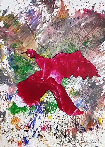 126 - Découpage et collage d'affiche sur acrylique sur papier de macule d'impression - Format 70 X 50 cm - 250 €