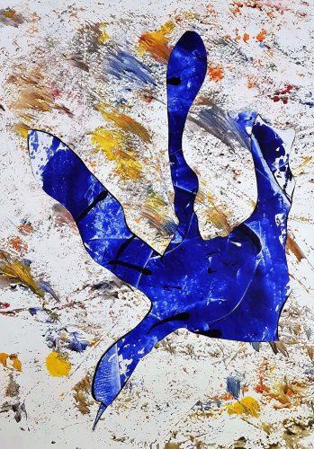 127 - Découpage et collage d'affiche sur acrylique sur papier de macule d'impression - Format 70 X 50 cm - 250 €