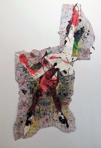 129 - Découpage et collage d'acrylique sur papier de macule d'impression - Format 140 X 511 cm - 800 €