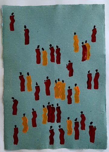 13 - Kekere Ohun Kiko - Acrylique sur papier recyclé artisanal - Dim. 45 X 32 cm. - 30 €