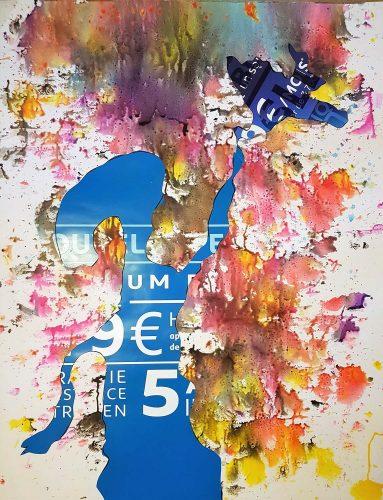131 - Découpage et collage d'autocollant industriel sur acrylique sur papier renforcé - Format 130 X 100 cm - 600 €