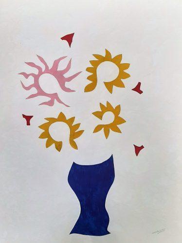 137 - Découpage de papier d'emballage peint à l'acrylique marouflé sur papier dessin marbré - Format 65 X 50 cm. - 250 €