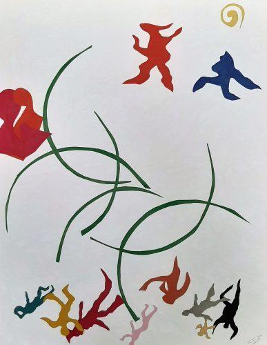 138 - Découpage de papier d'emballage peint à l'acrylique marouflé sur papier dessin marbré - Format 65 X 50 cm. - 250 €
