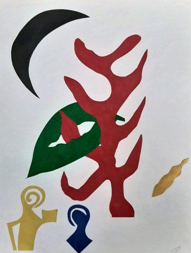 139 - Découpage de papier d'emballage peint à l'acrylique marouflé sur papier dessin marbré - Format 65 X 50 cm. - 250 €
