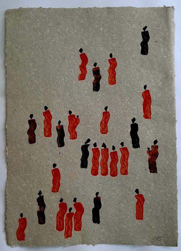 14 - Kekere Ohun Kiko - Acrylique sur papier recyclé artisanal - Dim. 45 X 32 cm. - 30 €