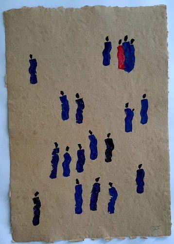 15 - Kekere Ohun Kiko - Acrylique sur papier recyclé artisanal - Dim. 45 X 32 cm. - 30 €