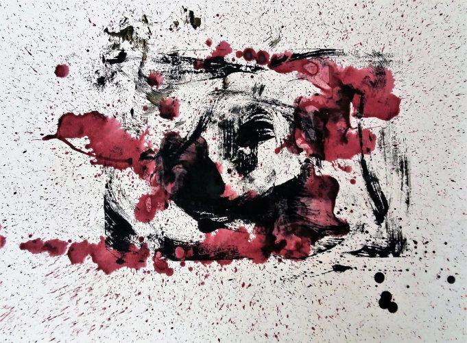 150 - Acrylique sur papier de macule d'impression - Format 50 X 70 cm. - 250 €