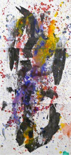 154 - Acrylique sur papier de macule d'impression - Format 150 X 70 cm. - 800 €