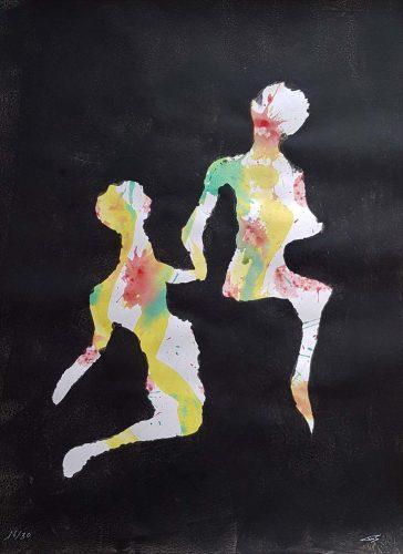 16 - Délectatio Morosa - Acrylique sur papier dessin - format 65 X 50 cm. 50 €