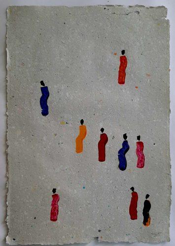 16 - Kekere Ohun Kiko - Acrylique sur papier recyclé artisanal - Dim. 45 X 32 cm. - 30 €