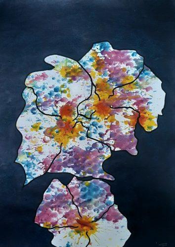 171 - Acrylique sur papier de macule d'impression - Format 70 X 50 cm. - 250 €