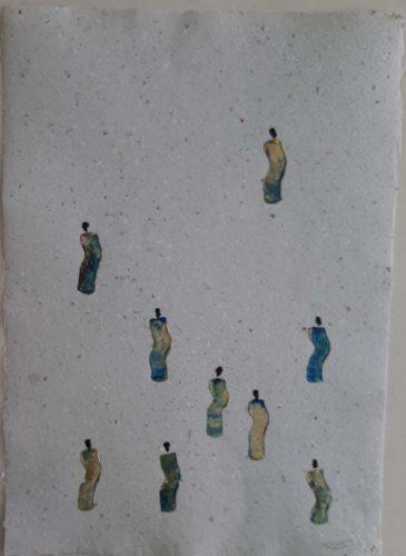 18 - Kekere Ohun Kiko - Acrylique sur papier recyclé artisanal - Dim. 45 X 32 cm. - 30 €