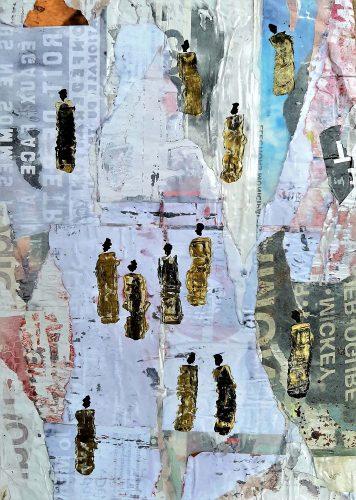 181 - Mejidilogun - Acrylique sur revers d'affichage public avec cadre doré - Format 87 X 60 cm - 550 €