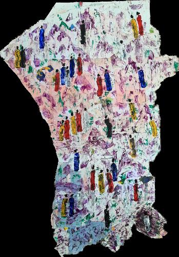 188 - Mẹjọ - Acrylique sur revers d'affichage public monté sur châssis - Format 154x107cm - 1500€