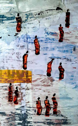 192 - Ogun - Acrylique sur revers d'affichage public avec cadre doré - Format 40 X 26 cm - 200 €