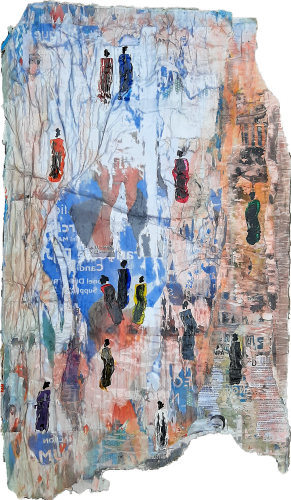 194 - Mẹrinla - Acrylique sur revers d'affichage public - Format 126 X 74 cm - 850 €
