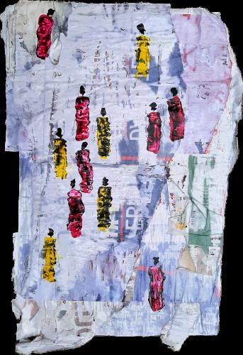 197 - Mẹtadilogun - Acrylique sur revers d'affichage public - Format 87 X 57 cm - 400 €