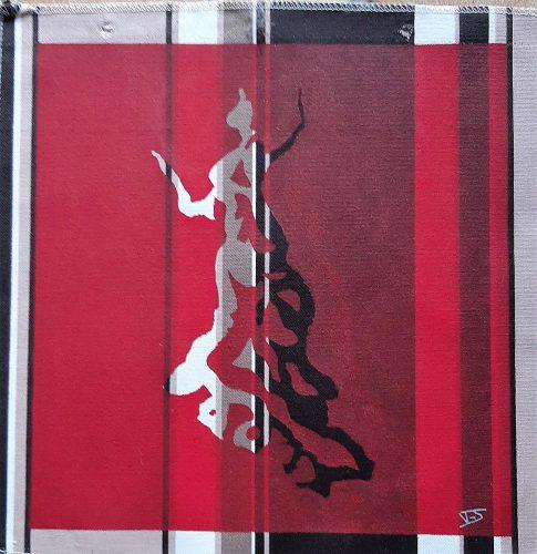2 - Flamenquita - Acrylique sur coupon de tissus d'ameublement - Fotmat 40 X 40 - 40 €