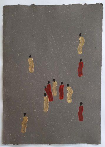 2 - Kekere Ohun Kiko - Acrylique sur papier recyclé artisanal - Dim. 45 X 32 cm. - 30 €