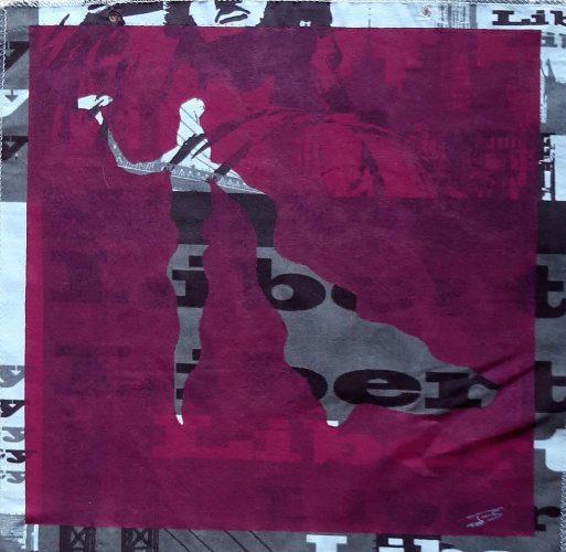 2 - Torerito - Acrylique sur coupon de tissus d'ameublement - Fotmat 40 X 40 - 40 €