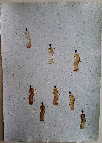 20 - Kekere Ohun Kiko - Acrylique sur papier recyclé artisanal - Dim. 45 X 32 cm. - 30 €