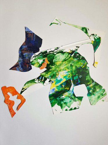 202 - Découpage et montage d'acrylique sur papier - 250 €