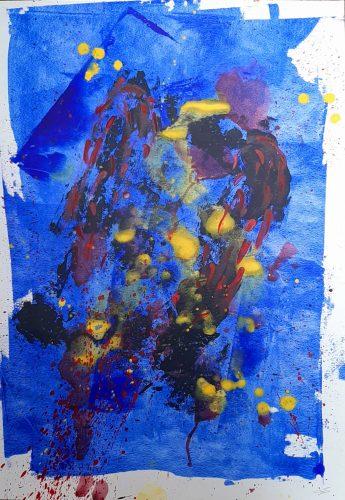 145 - Acrylique sur revers de macule d'impression - Dim. 70X50 cm. - 250 €