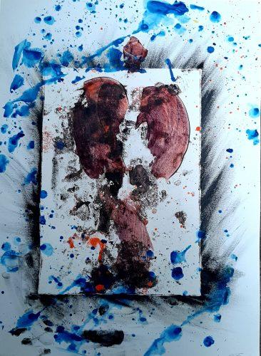 158 - Acrylique sur revers de macule d'impression - Dim. 70X50 cm. - 250 €