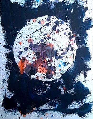 3A - Abstraction - Acrylique sur revers de macule d'impression - Dim. 70X50 cm. - 250 €