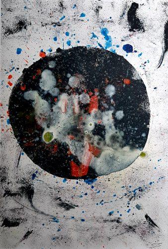 2A - Abstraction - Acrylique sur revers de macule d'impression - Dim. 65X50 cm. - 250 €