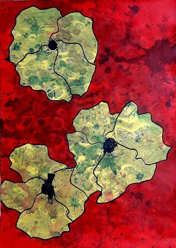 N10 - Flores - Acrylique sur papier dessin - Dim. 70X50 cm. - 250 €