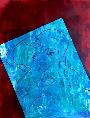 N5 - Bella dona - Acrylique sur papier dessin - Dim. 65X50 cm. - 250 €
