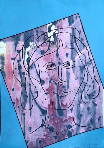 N4 - Bella dona - Acrylique sur papier dessin - Dim. 65X50 cm. - 250 €